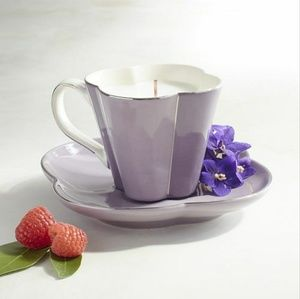 Purple teacup candle